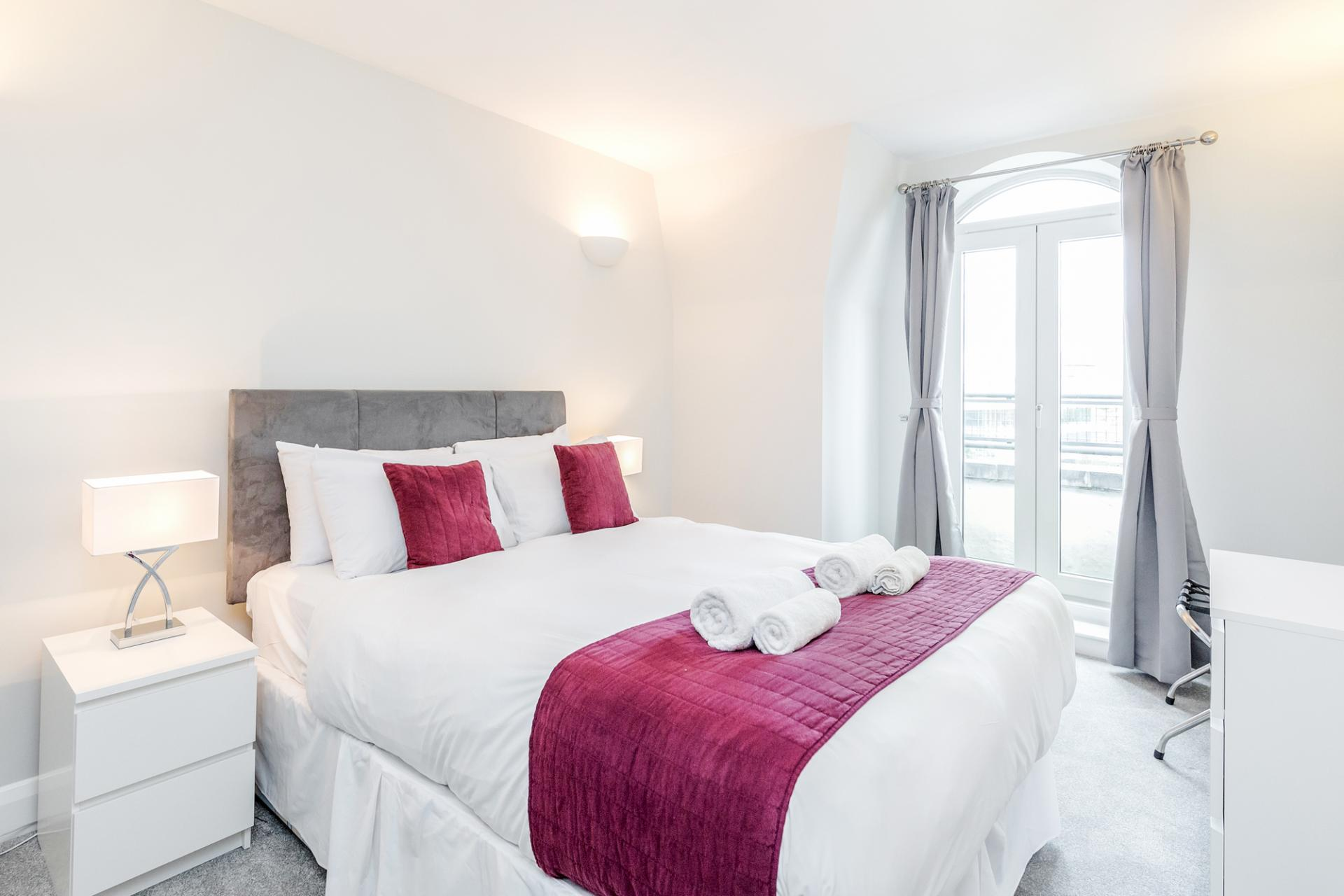 Bedroom at Thames Edge Apartments, Centre, Staines