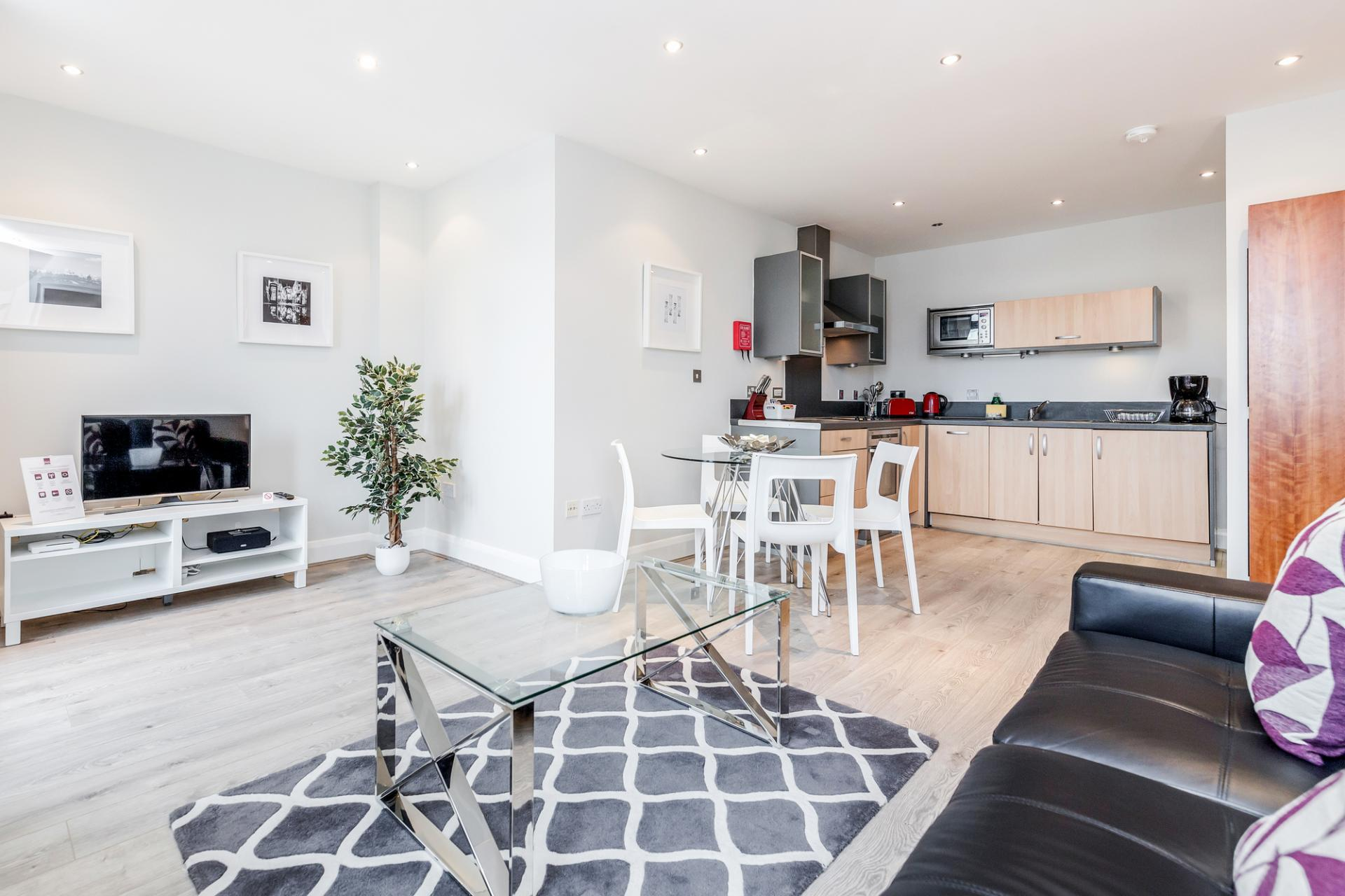 Dining area at Thames Edge Apartments, Centre, Staines