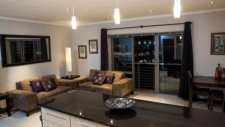 Modern living area in Icon Apartments