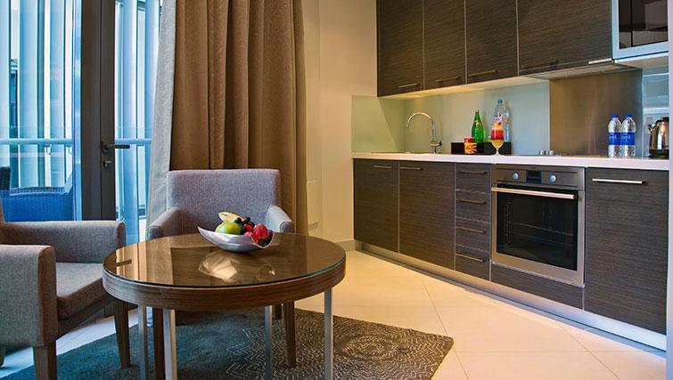 Stylish kitchen at Majestic Arjaan Apartments