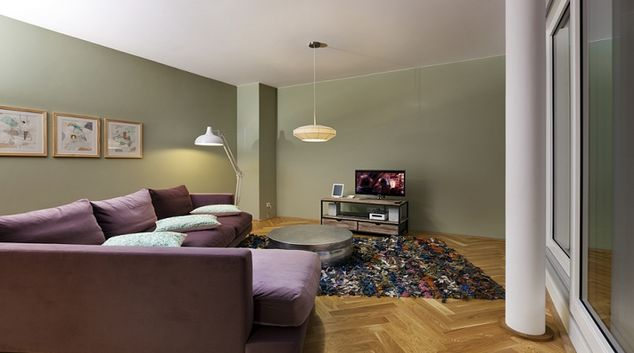 Relaxing living area in The Circus Apartments