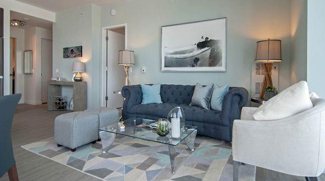 Open-plan living area in Nema Apartments