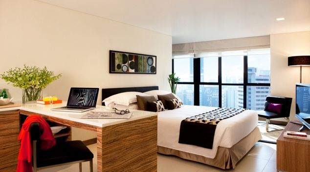 Living room at studio apartment in the 8 on Claymore Apartments, Singapore