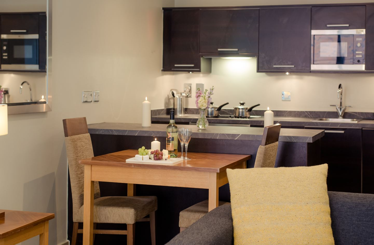 Kitchen area at Premier Suites Manchester