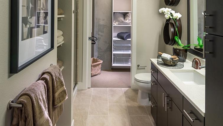 Stylish bathroom at Channel Bay Apartment