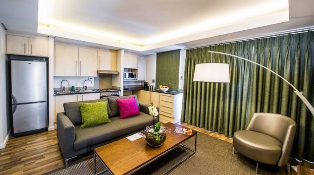 Living area at Genesis Suites