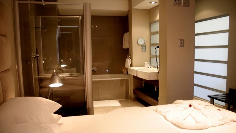 Pristine bathroom at Genesis Suites