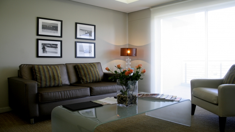 Modern living area at Genesis Suites