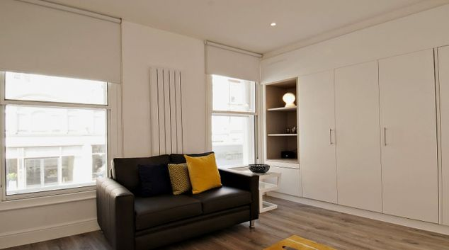 Bright living area at Wigmore Street Apartments