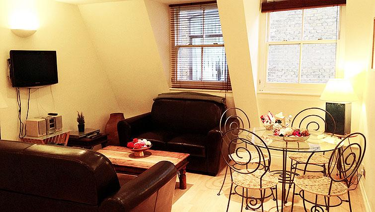 Comfortable living area at Astral House Apartments