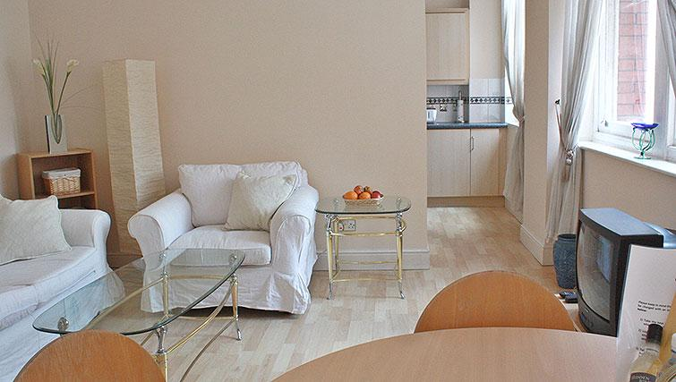 Bright living space at Astral House Apartments