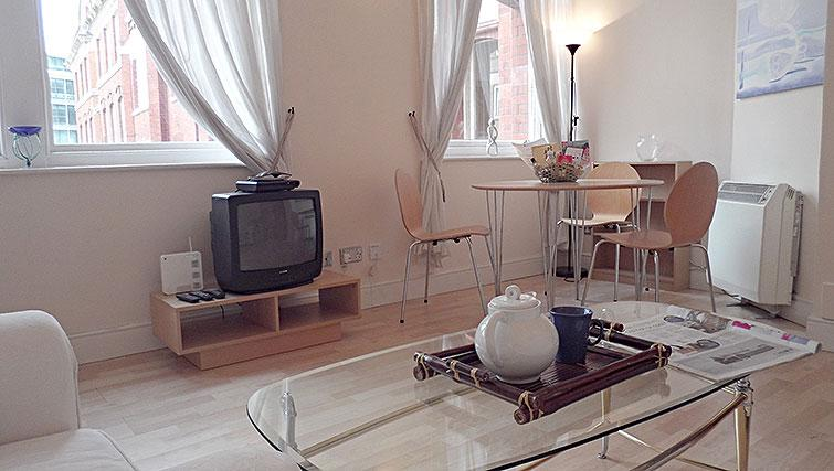Living area at Astral House Apartments