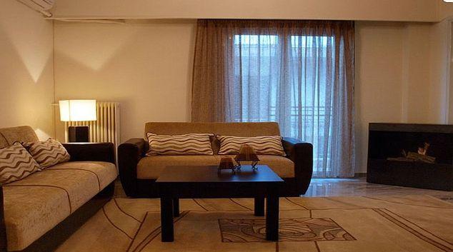 Bold living area in Galatsi Apartment