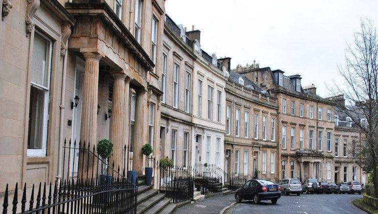 Elegant exterior at Lynedoch Glasgow Apartments
