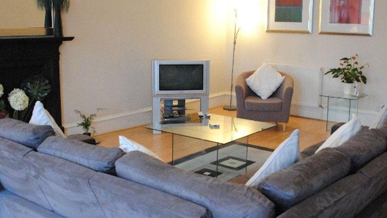 Modern living area at Lynedoch Glasgow Apartments