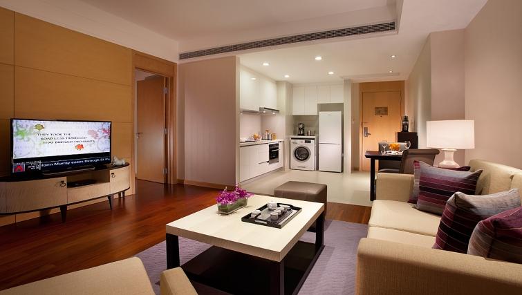 Spacious living area at Ascott Midtown Suzhou Apartments