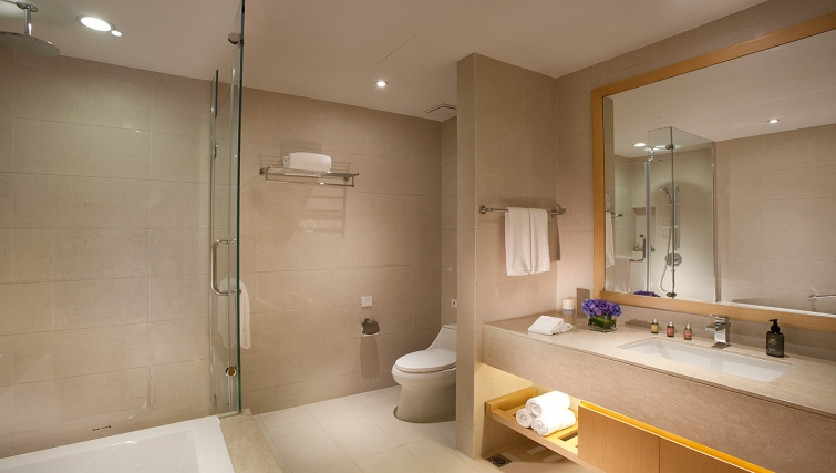 Large marble bathroom at Ascott Midtown Suzhou Apartments