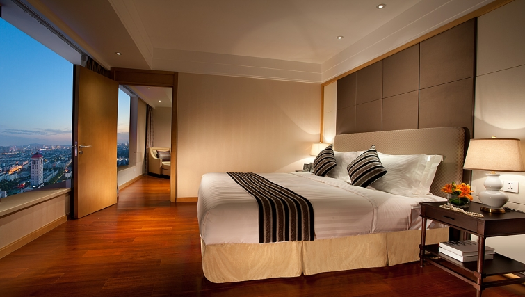 Sophisticated bedroom at Ascott Midtown Suzhou Apartments