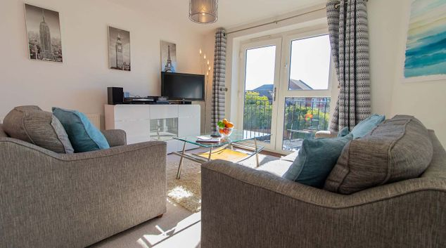 Bright lounge at The Pavilions Windsor Apartments