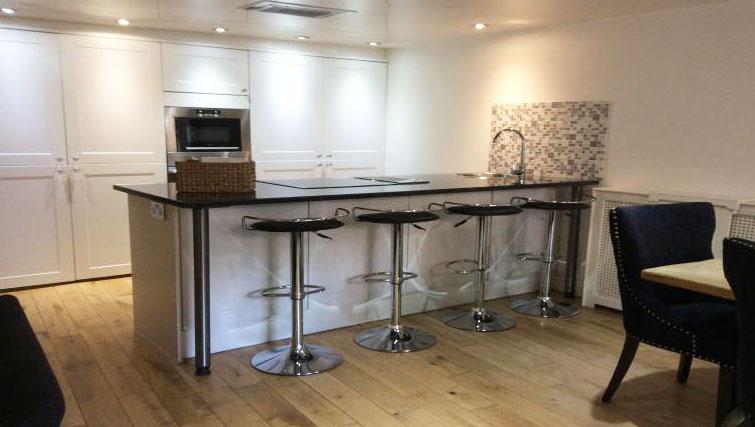 Kitchen in duplex at Straw House Apartments