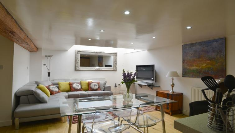 Open plan living area at Straw House Apartments