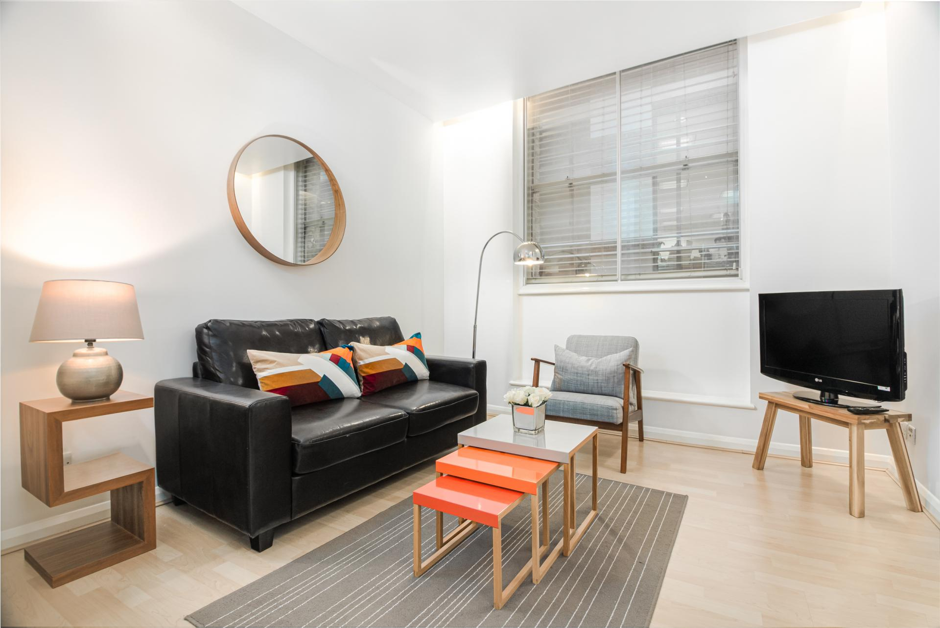 Living area at Priory House Apartments, City, London