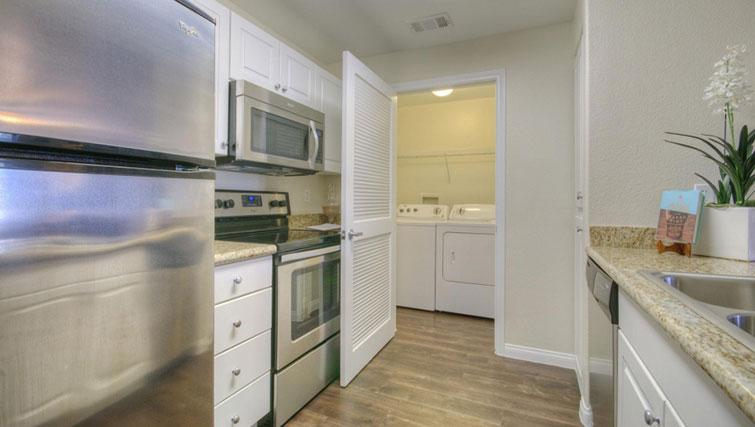 Equipped kitchen at Cedar Walk Apartments