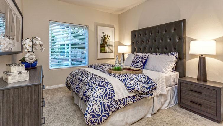 Double bed at Cedar Walk Apartments