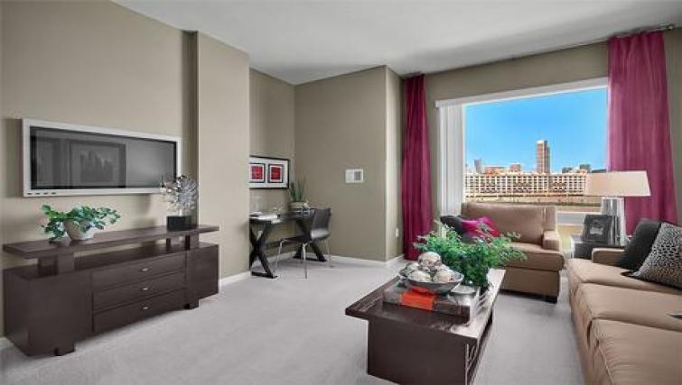 Living area at Strata San Francisco Apartments