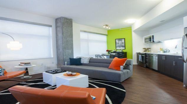 Living room at Venn Apartments