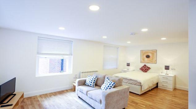 Living area at Fleet Street Studio Apartments
