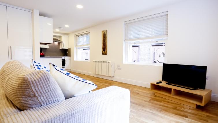 Modern living area at Fleet Street Studio Apartments