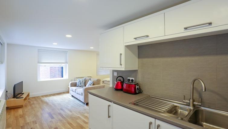 Kitchen area at Fleet Street Studio Apartments