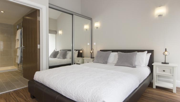 Modern bedroom at The Dales Apartments