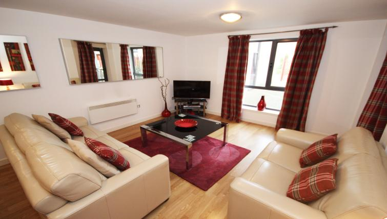 Living area at Baltic Quays Apartments