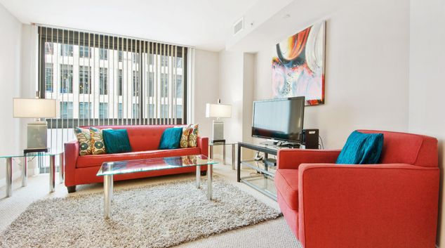Living room at Newseum Apartments, Centre, Washington DC