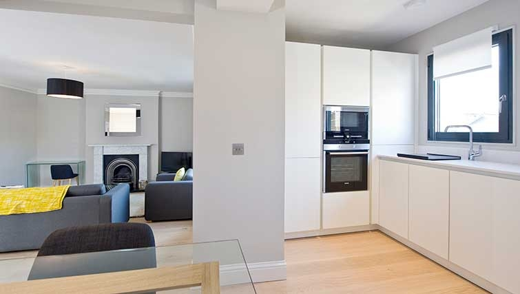 Open-plan living area at Hill Street Apartments