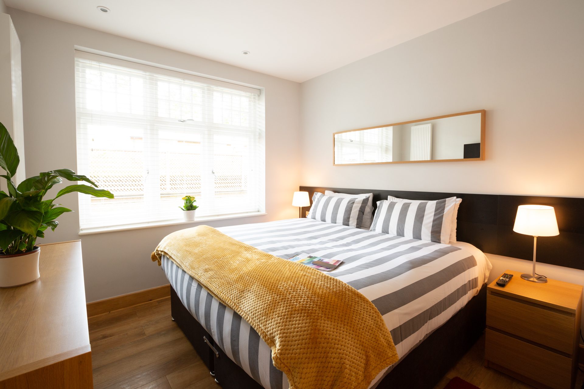 Modern bedroom at Alban House Apartments