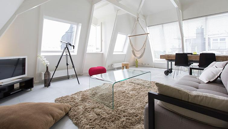 Spacious living area at Apartment Amstel View, Amsterdam