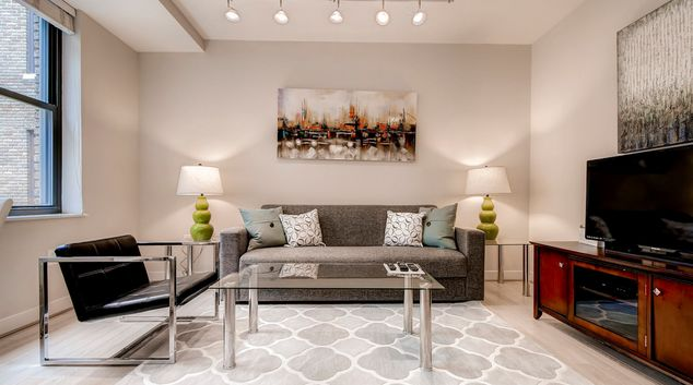 Living area at Woodward Apartments, Centre, Washington DC