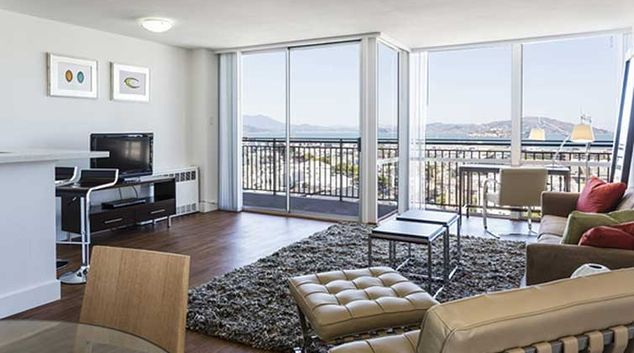 Living area at Crystal Tower Apartments
