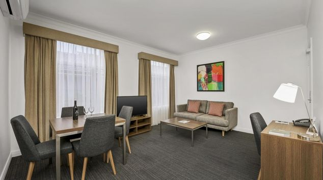 Living area at Quest Dandenong Apartments, Dandenong, Melbourne