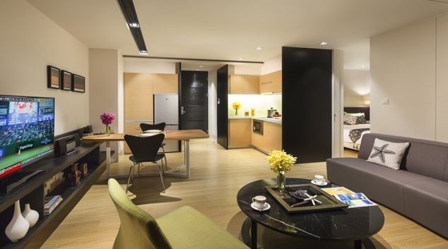 Living area at Citadines South Chengdu Apartments