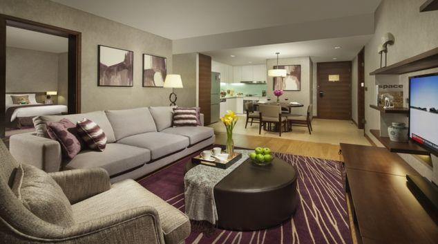 Modern living area at Ascott Raffles City Chengdu Apartments