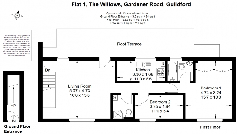 2 bed floor plan at The Willows Apartments