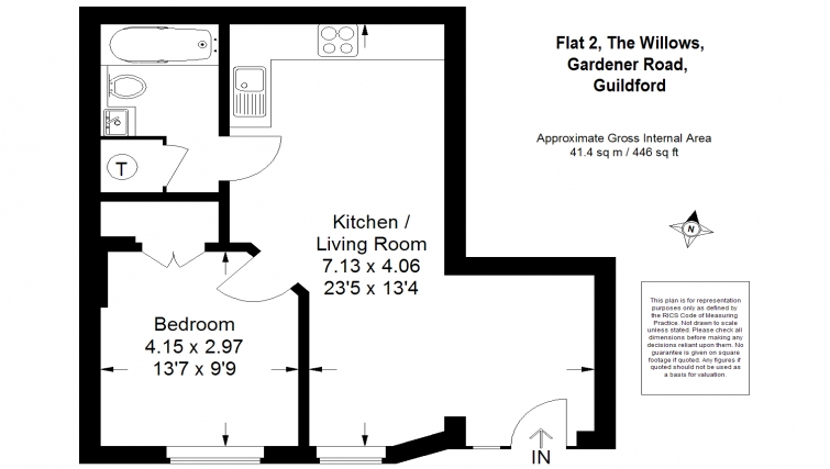 1 bed floor plan at The Willows Apartments