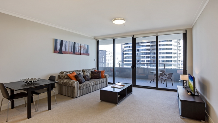 Living area at Astra Apartments Rhodes Walker Street
