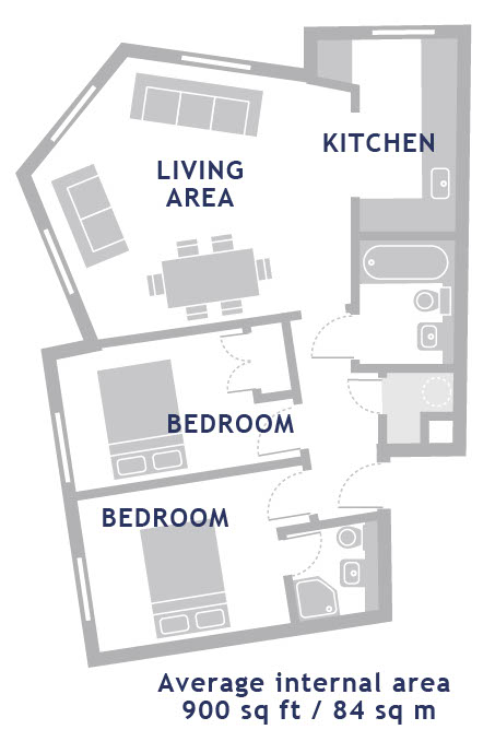 2 bed floor plan at Empire Square Apartments, London Bridge, London