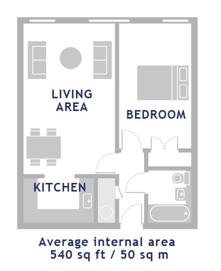 1 bed floor plan of Empire Square Apartments, London Bridge, London