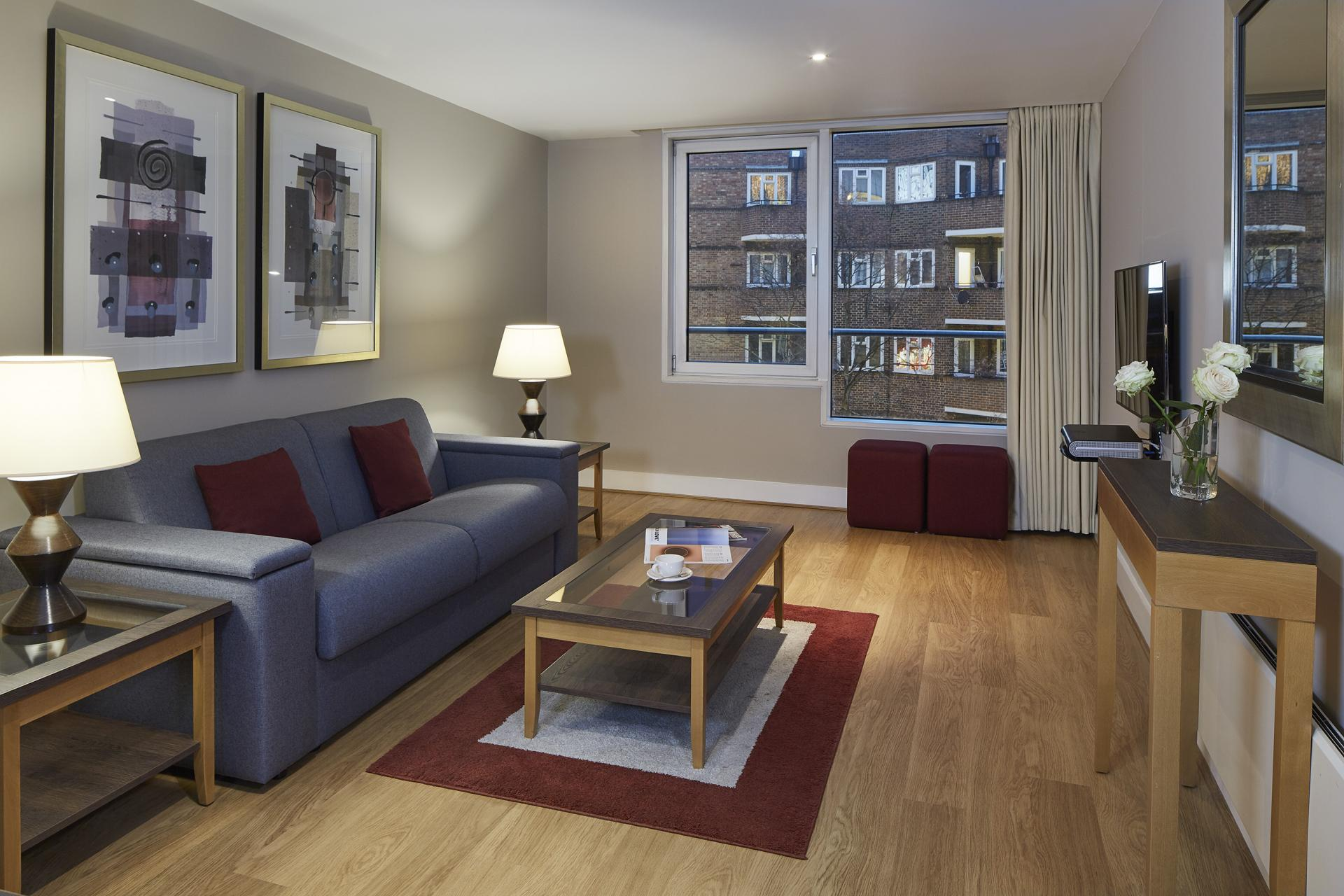 Living area at Empire Square Apartments, London Bridge, London
